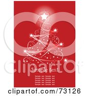 Royalty Free RF Clipart Illustration Of A Sparkly Christmas Tree With A Bright Star Over Red With Sample Text For Visual Purposes
