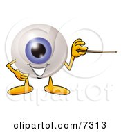 Clipart Picture Of An Eyeball Mascot Cartoon Character Holding A Pointer Stick by Toons4Biz