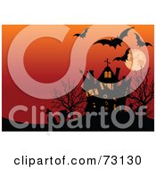 Royalty Free RF Clipart Illustration Of Bats Tombstones And A Haunted House Silhouetted Under An Orange Full Moon Sky