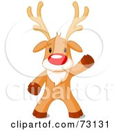 Royalty Free RF Clipart Illustration Of A Cute Rudolph The Red Nosed Reindeer Standing And Waving by Pushkin