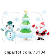 Royalty Free RF Clipart Illustration Of Frosty The Snowman And Santa Claus Waving By A Christmas Tree by Pushkin