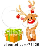 Royalty Free RF Clipart Illustration Of A Cute Rudolph The Red Nosed Reindeer Wearing Baubles And Standing By A Present by Pushkin