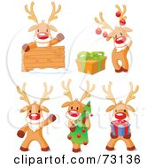 Royalty Free RF Clipart Illustration Of A Digital Collage Of Cute Rudolph The Red Nosed Reindeer Poses by Pushkin