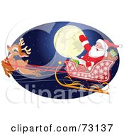 Royalty Free RF Clipart Illustration Of Santa And Rudolph Flying In Front Of A Full Moon On The Eve Of Christmas by Pushkin