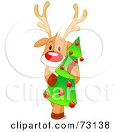 Royalty Free RF Clip Art Illustration Of A Cute Rudolph The Red Nosed Reindeer Hugging A Christmas Tree