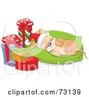 Adorable Christmas Puppy Wearing A Santa Hat And Sleeping On A Pillow By Presents