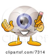 Eyeball Mascot Cartoon Character Holding A Pencil