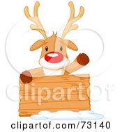 Royalty Free RF Clipart Illustration Of A Cute Rudolph The Red Nosed Reindeer Behind A Blank Wood Sign by Pushkin
