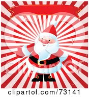 Royalty Free RF Clipart Illustration Of Santa Under A Red Banner On A Bursting Background