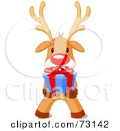 Royalty Free RF Clipart Illustration Of A Cute Rudolph The Red Nosed Reindeer Holding A Christmas Present