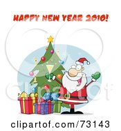 Royalty Free RF Clipart Illustration Of A Happy New Year 2010 Greeting With Santa Drinking Bubbly By A Christmas Tree by Hit Toon