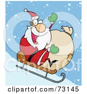 Royalty Free RF Clipart Illustration Of A Jolly Christmas Santa Waving And Sledding With His Toy Sack In The Snow