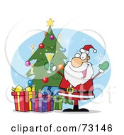 Royalty Free RF Clipart Illustration Of A Jolly Christmas Santa Drinking Champagne By A Tree And Presents by Hit Toon