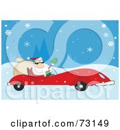 Royalty Free RF Clipart Illustration Of A Jolly Christmas Santa Waving And Driving His Convertible Red Sports Car In The Snow