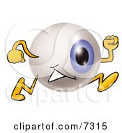Clipart Picture Of An Eyeball Mascot Cartoon Character Running by Toons4Biz