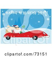 Royalty Free RF Clipart Illustration Of A Happy New Year 2010 Greeting With Santa Driving His Red Sports Car In The Snow