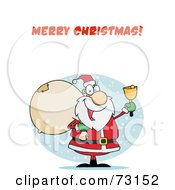 Royalty Free RF Clipart Illustration Of A Merry Christmas Greeting With Santa Ringing A Bell And Carrying A Sack