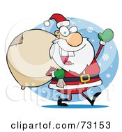 Royalty Free RF Clipart Illustration Of A Jolly Christmas Santa Waving And Carrying His Toy Sack In The Snow
