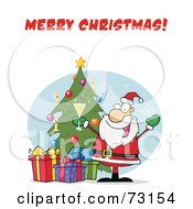 Royalty Free RF Clipart Illustration Of A Merry Christmas Greeting With Santa Drinking Bubbly By A Christmas Tree by Hit Toon