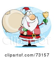 Royalty Free RF Clipart Illustration Of A Jolly Christmas Santa Ringing A Bell And Carrying His Toy Sack
