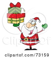 Royalty Free RF Clipart Illustration Of A Jolly Christmas Santa Holding Up A Stack Of Gifts
