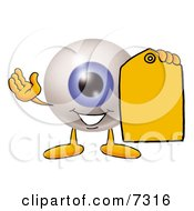 Eyeball Mascot Cartoon Character Holding A Yellow Sales Price Tag