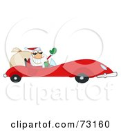 Royalty Free RF Clipart Illustration Of A Jolly Christmas Santa Waving And Driving His Red Sports Car