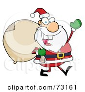 Royalty Free RF Clipart Illustration Of A Jolly Christmas Santa Waving And Walking With His Toy Sack