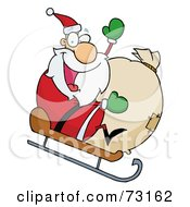 Royalty Free RF Clipart Illustration Of A Jolly Christmas Santa Waving And Sledding With His Toy Sack
