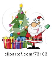 Royalty Free RF Clipart Illustration Of A Jolly Christmas Santa Drinking Champagne And Standing By A Tree