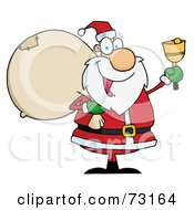 Royalty Free RF Clipart Illustration Of A Jolly Christmas Santa Waving A Bell And Carrying His Toy Sack
