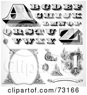 Royalty Free RF Clipart Illustration Of A Digital Collage Of Black And White Capital Money Styled Letters And Elements