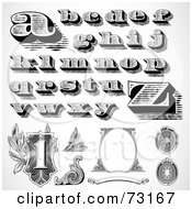 Royalty Free RF Clipart Illustration Of A Digital Collage Of Black And White Lowercase Money Styled Letters And Elements