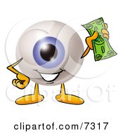 Clipart Picture Of An Eyeball Mascot Cartoon Character Holding A Dollar Bill by Toons4Biz