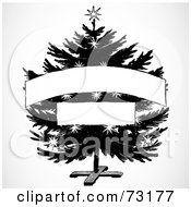 Royalty Free RF Clipart Illustration Of A Black And White Christmas Tree With Two Blank Banners