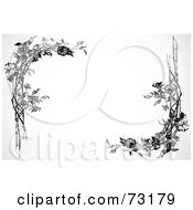 Royalty Free RF Clipart Illustration Of Black And White Rose Branch Corner Elements by BestVector