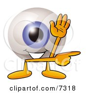 Clipart Picture Of An Eyeball Mascot Cartoon Character Waving And Pointing by Toons4Biz