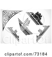 Royalty Free RF Clipart Illustration Of A Digital Collage Of Five Black And White Corner Borders by BestVector