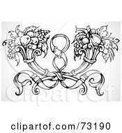 Black And White Dual Horn Of Plenty And Ribbon Element