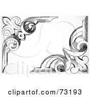 Royalty Free RF Clipart Illustration Of A Digital Collage Of Two Black And White Wooden Floral Corner Borders Version 2 by BestVector
