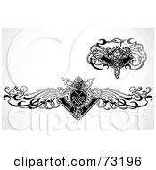 Royalty Free RF Clipart Illustration Of A Digital Collage Of Black And White Crane Design Elements
