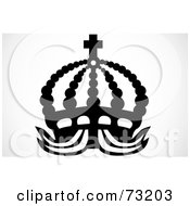 Royalty Free RF Clip Art Illustration Of A Black And White Beaded Crown With A Cross by BestVector