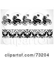 Royalty Free RF Clipart Illustration Of A Digital Collage Of Black And White Flower And Dancer Border Design Elements