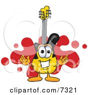 Clipart Picture Of A Guitar Mascot Cartoon Character Logo With A Red Paint Splatter
