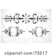 Royalty Free RF Clipart Illustration Of A Digital Collage Of Black And White Floral Wrought Iron Design Elements by BestVector