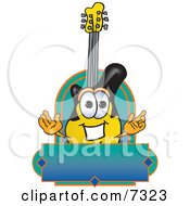 Clipart Picture Of A Guitar Mascot Cartoon Character
