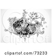 Royalty Free RF Clipart Illustration Of A Black And White Cupid On A Floral Design Element by BestVector