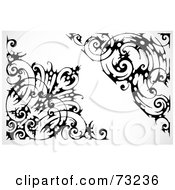 Royalty Free RF Clipart Illustration Of A Digital Collage Of Black And White Floral Barbed Wire Corner Borders by BestVector