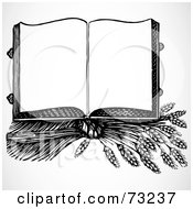 Royalty Free RF Clipart Illustration Of An Open Black And White Cook Book On Top Of Wheat