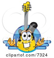Clipart Picture Of A Guitar Mascot Cartoon Character Logo With A Circle And Lines by Toons4Biz